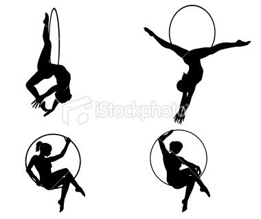 380x319 Four Silhouettes Of Circus Acrobats Performing Aerial Lyra Act
