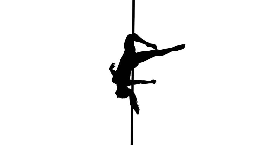 852x480 Aerial Acrobat Woman On Circus Stage. Silhouette On A White