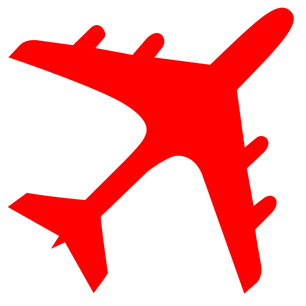 1024x1024 Fileairplane Silhouette Red.svg