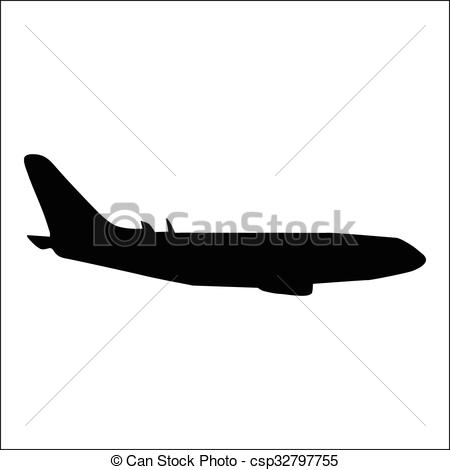 450x470 Planes Black Silhouette Isolated On White Background Clipart