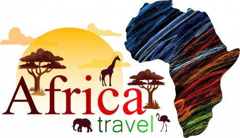 468x269 Africa Travel Advertisement Map Land Silhouette Animals Icons