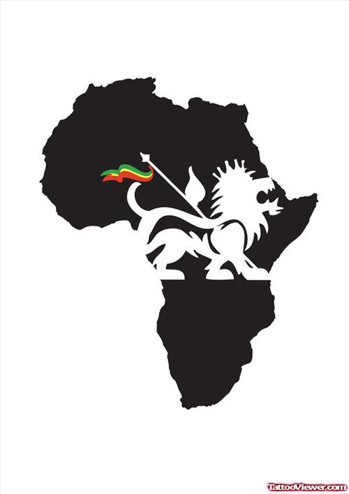 500x707 Black African Map And Lion With Flag Tattoo Design Tattoo