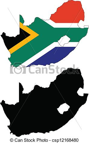 295x470 Vector Illustration Map And Flag Of South Africa. Vector