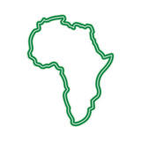 160x160 Map Of Africa Continent Silhouette On A White Background Vector