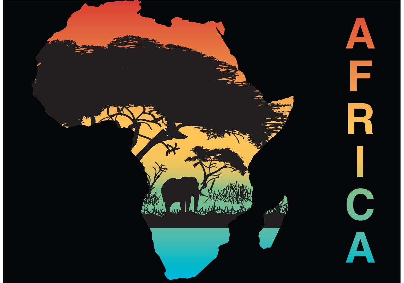 1400x980 Africa Silhouette Vector