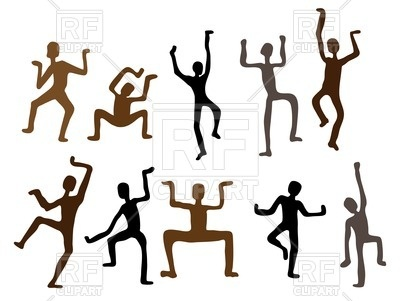400x301 Silhouettes Of African Dancers As Rock Paintings Royalty Free