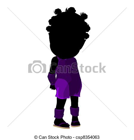 450x470 Little African American Asian Girl Silhouette Illustration
