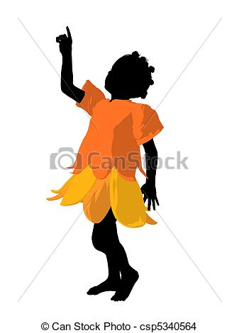 337x470 African American Fairy Girl Silhouette Illustration. African