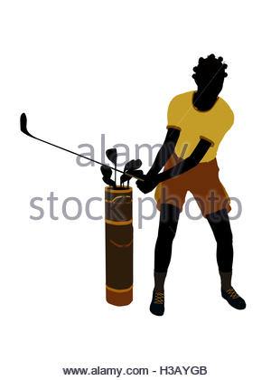 300x420 African American Female Golf Player Art Illustration Silhouette