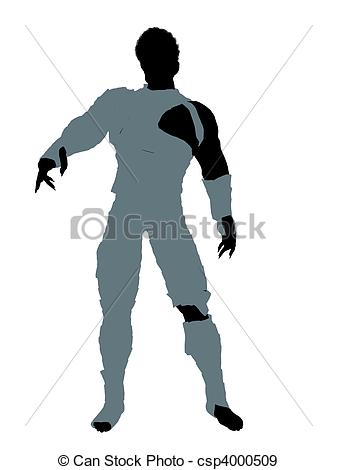 337x470 African American Male Mummy Illustration Silhouette. African