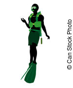 150x180 African American Male Scuba Diver Illustration Silhouette