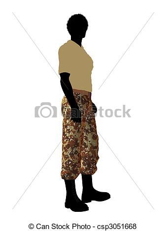 337x470 African American Soldier Illustration Silhouette. Male Stock