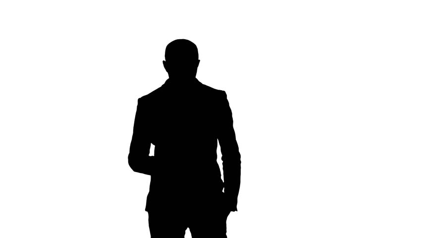 852x480 Silhouette Arab Business Man Talking On The Mobile Phone Stock