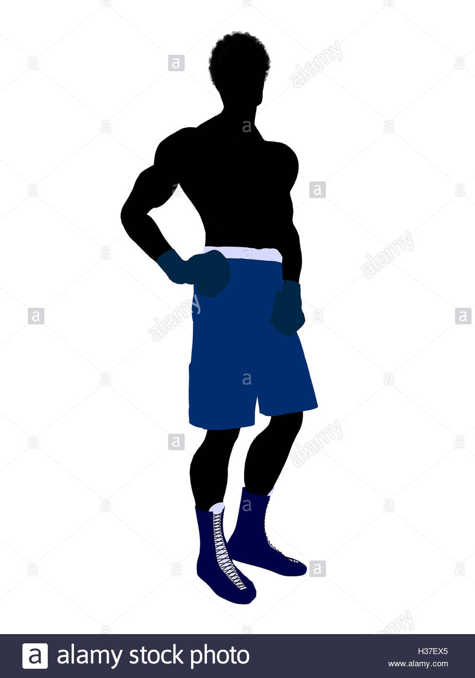 975x1390 African American Male Boxer Illustration Silhouette Stock Photo