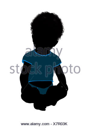 300x420 African American Male Infant Toddler Illustration Silhouette Stock