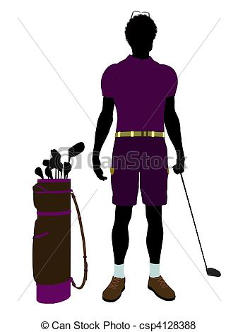 337x470 African American Male Golf Player Illustration Silhouette