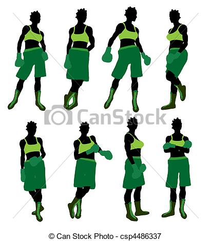 411x470 African American Female Boxng Illustration Silhouette . Stock