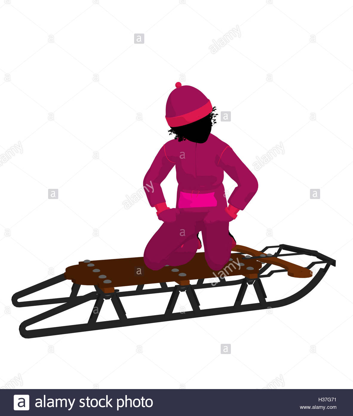 1182x1390 African American Girl On A Sled Silhouette Stock Photo, Royalty