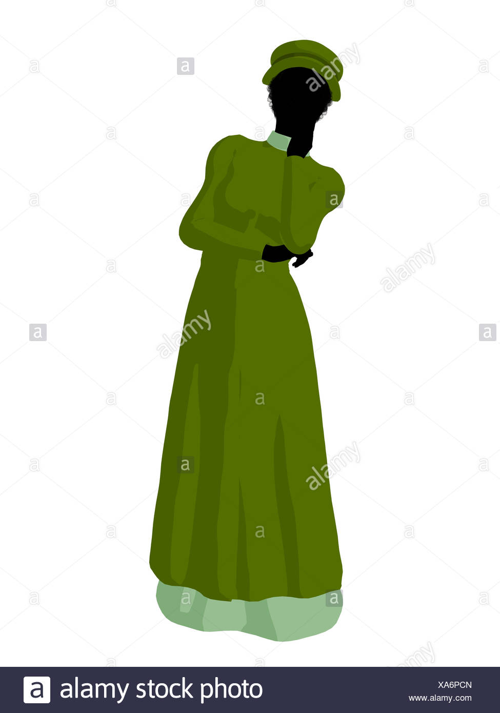 975x1390 African American Victorian Woman Illustration Silhouette Stock