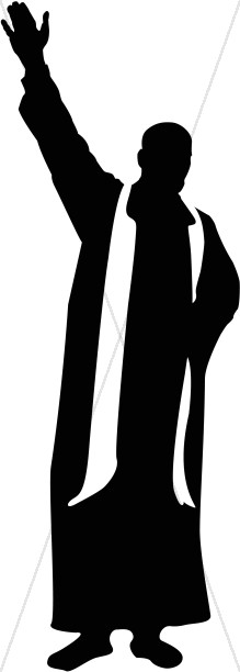 219x612 Catholic Priest Silhouette With Bible Clergy Clipart