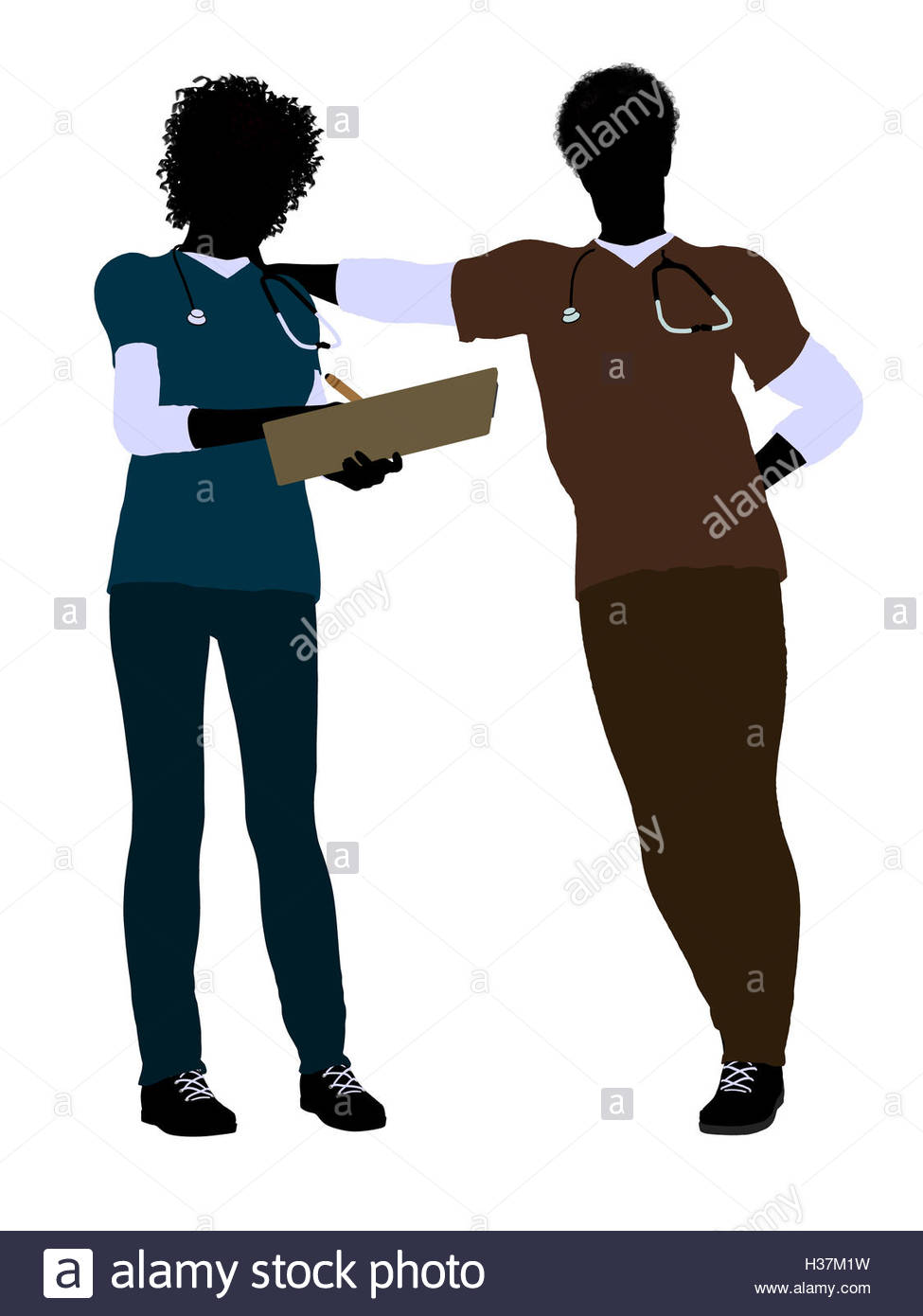 975x1390 African American Female And Male Doctor Silhouette Stock Photo