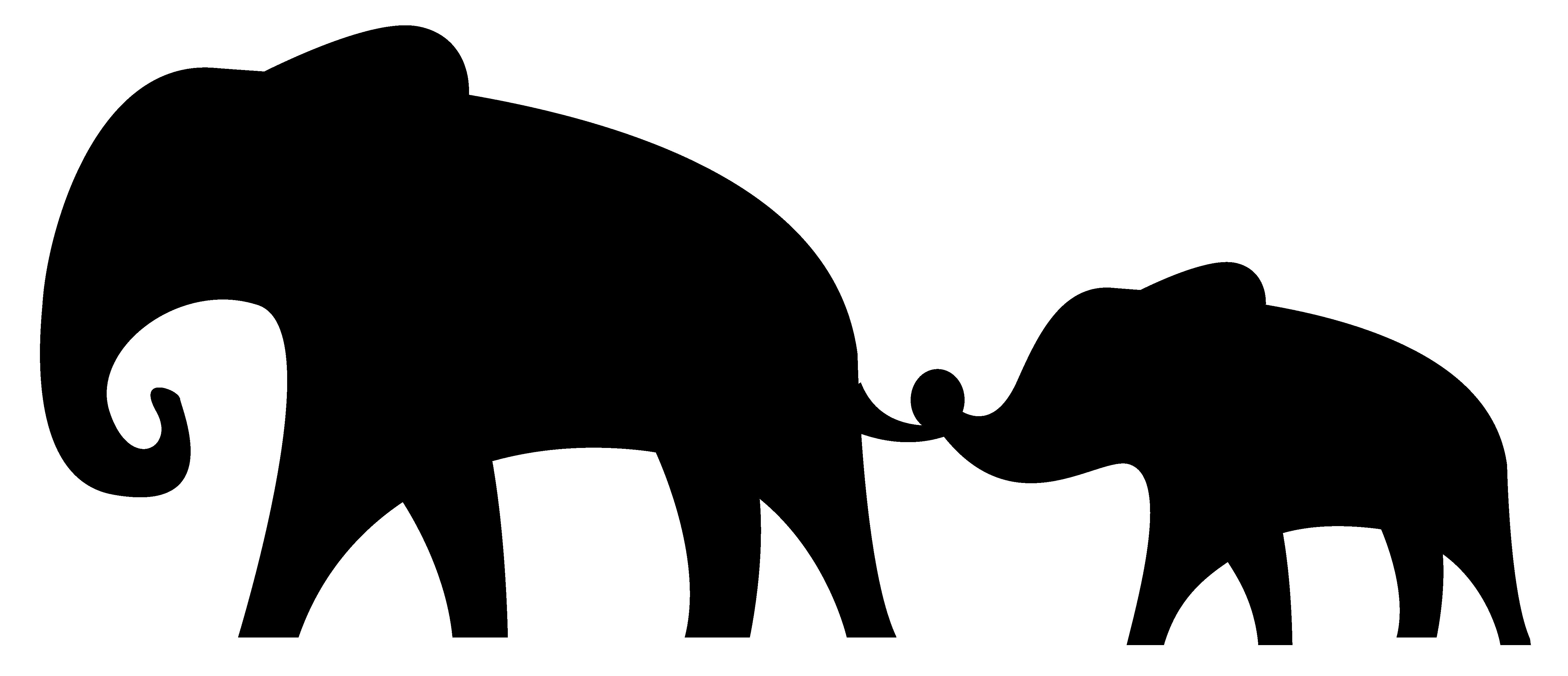 5379x2318 African Elephant Silhouette Clip Art
