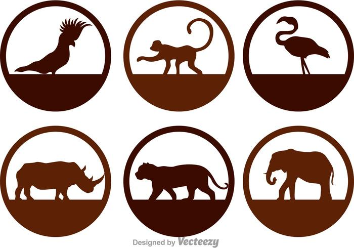 700x490 Wild Animals Silhouette Icons