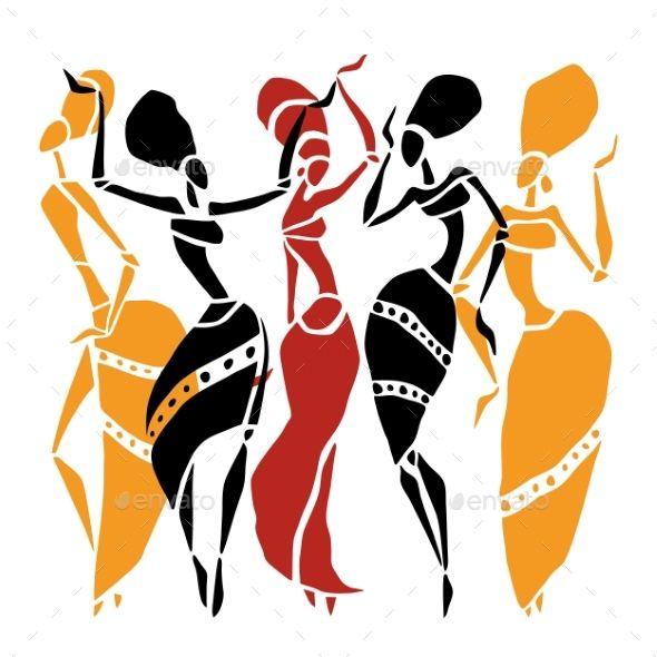 590x590 African Dancers Silhouette Set Dancer Silhouette, Dancers