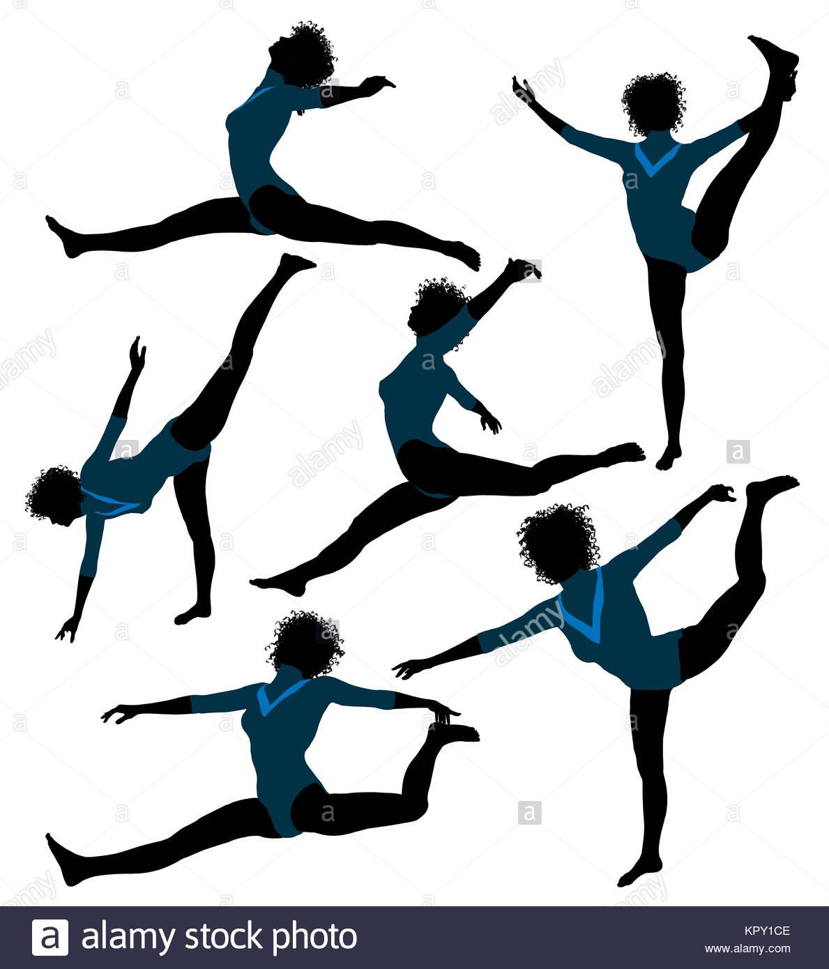 1189x1390 Femalefricanmerican Gymnastrt Illustration Silhouette On