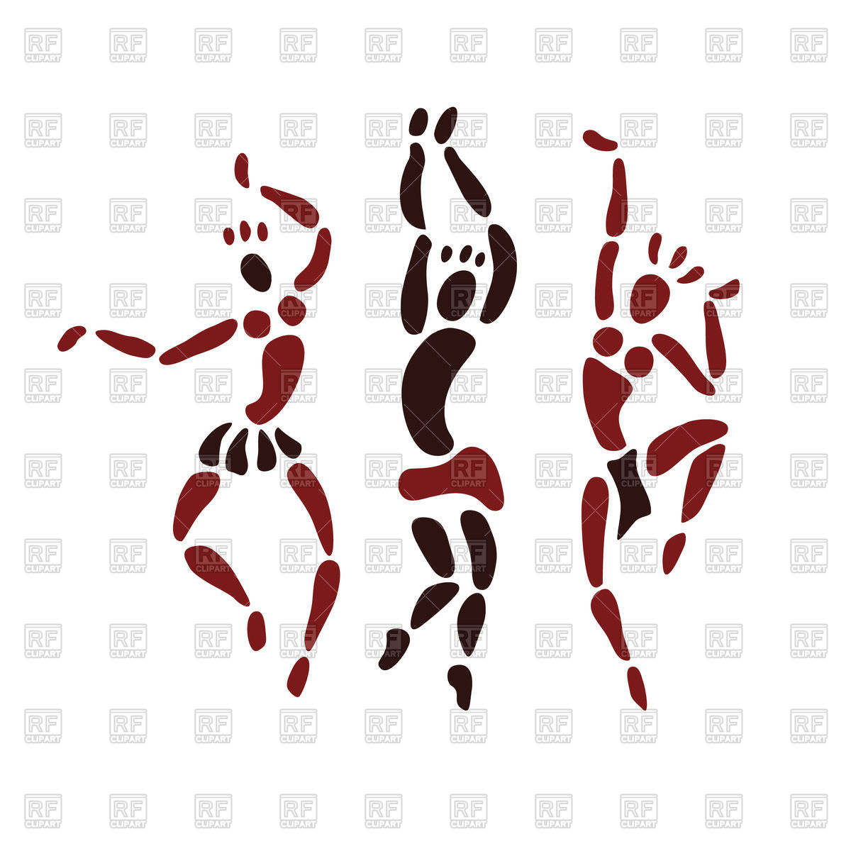 1200x1200 Hand Drawn Figures Of African Dancers Royalty Free Vector Clip Art