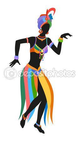 252x449 Mujer Africana De Danza Vector De Stock