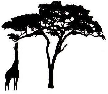 African Giraffe Silhouette