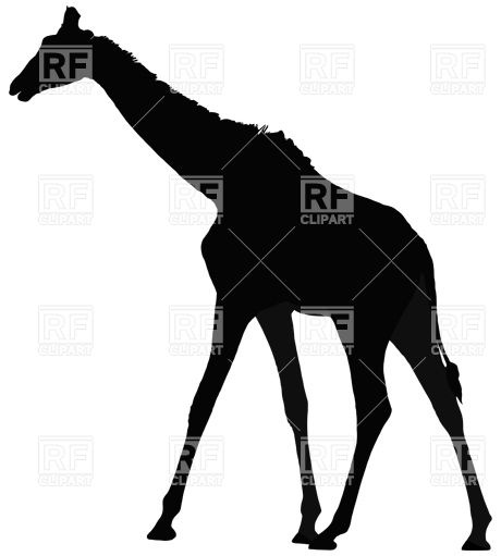 460x511 Black Silhouette Of Giraffe Royalty Free Vector Clip Art Image