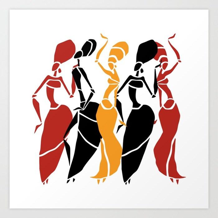 700x700 Abstract African Dancers Silhouette. Figures Of African Women. Art