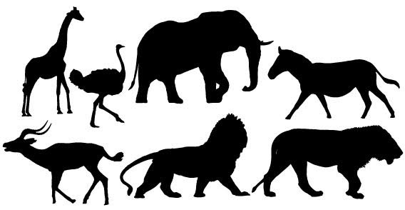 568x294 African Animals Silhouette