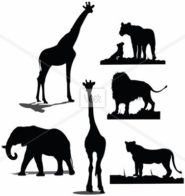 377x400 African Animal Silhouettes. Black And White Silhouettes Stock