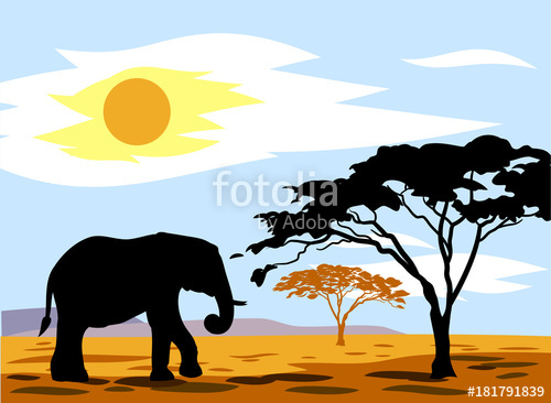 500x366 African Landscape With An Elephant Stock Image And Royalty Free