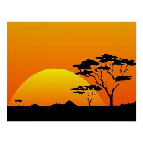 500x500 Beautiful African Safari Orange Sunset Poster