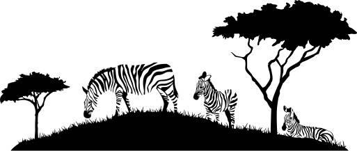 513x217 Zebras On A African Landscape