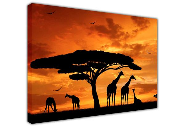 600x413 Beautiful African Giraffe Family Silhouette Large Canvas Prints