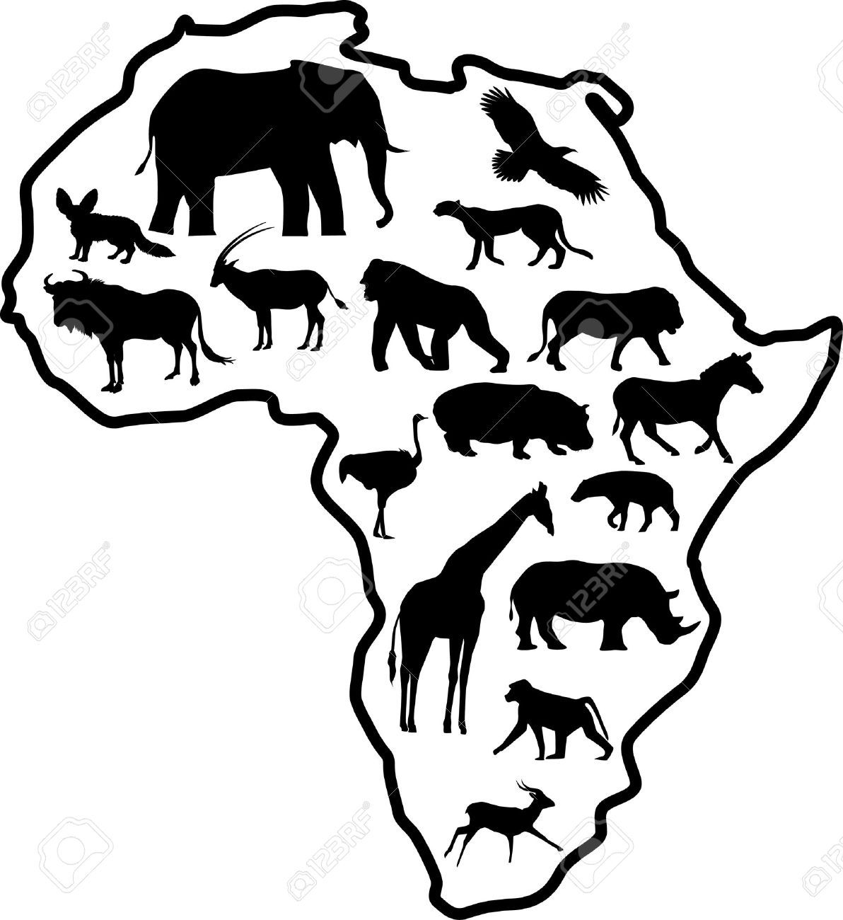 1192x1300 Africa Safari Animal Silhouette (Map) African Prints