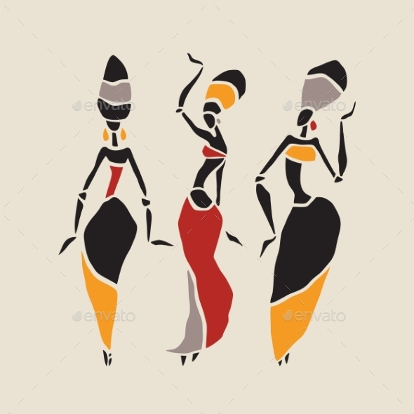 590x590 African Dancers Silhouette Set. By Katyau Graphicriver