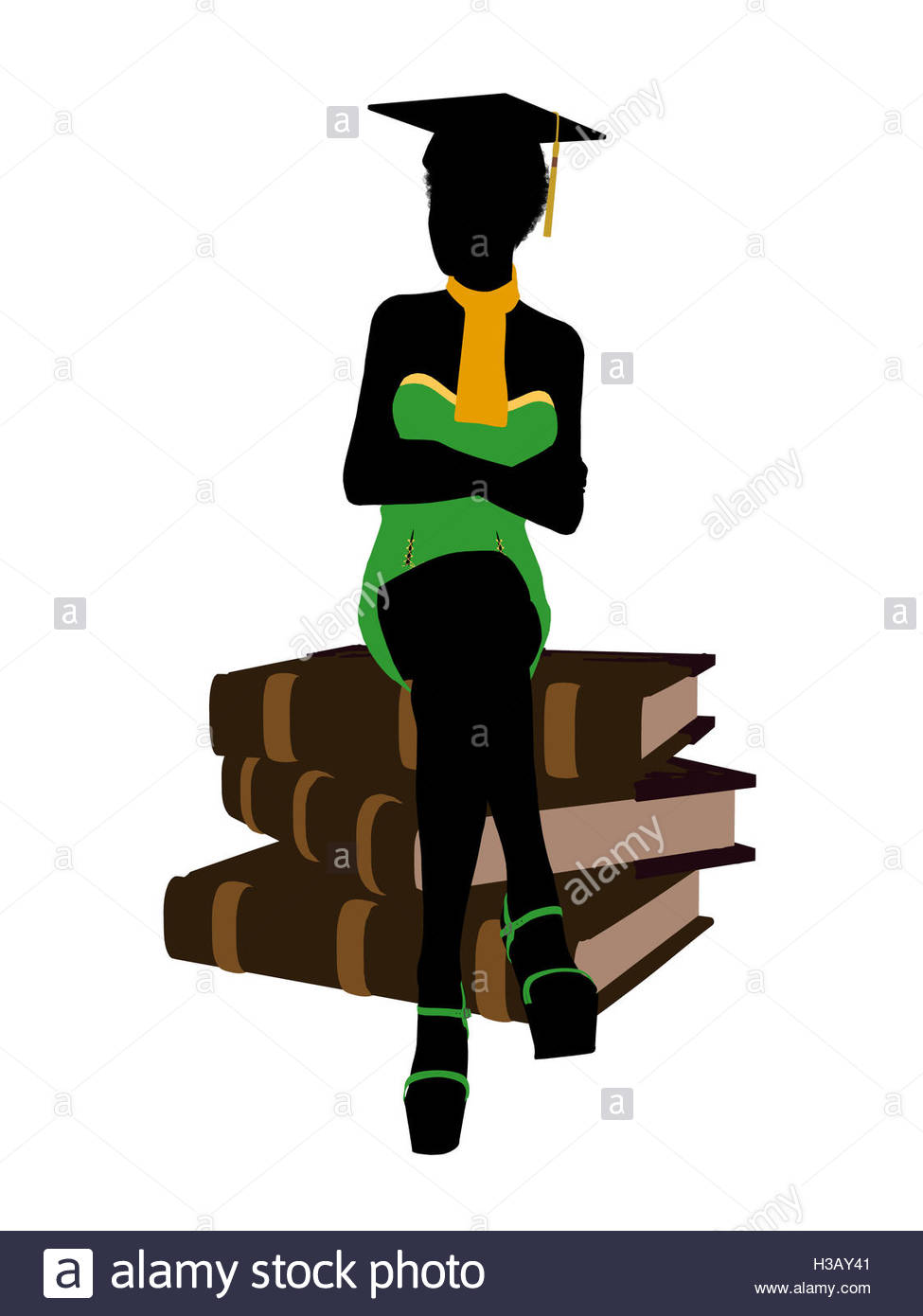 975x1390 African American Graduate Illustration Silhouette Stock Photo