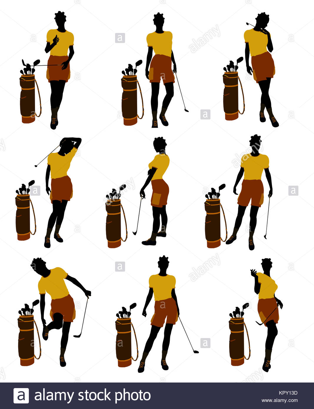 1067x1390 African American Female Golf Player Art Illustration Silhouette