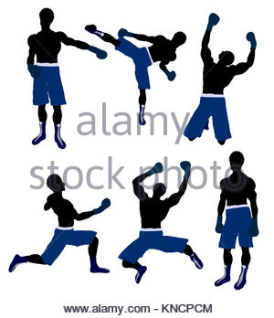 300x348fricanmerican Male Boxingrt Illustration Silhouette On