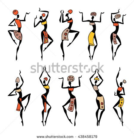 450x470 Dancing Silhouettes. Oriental Dancer Beautiful Women. Vector