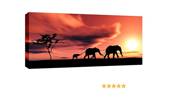 600x315 Large Elephants African Sunset Canvas Picture Mounted And Ready