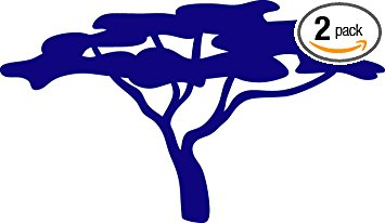 355x206 African Tree Silhouette (Navy Blue) (Set Of 2) Premium