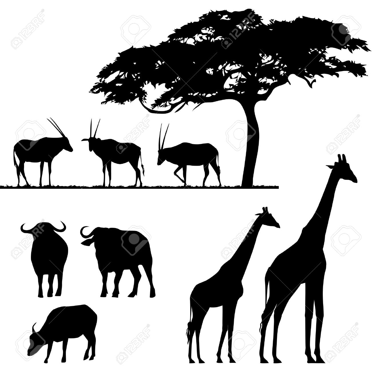 1300x1300 African Animal Silhouette Clip Art