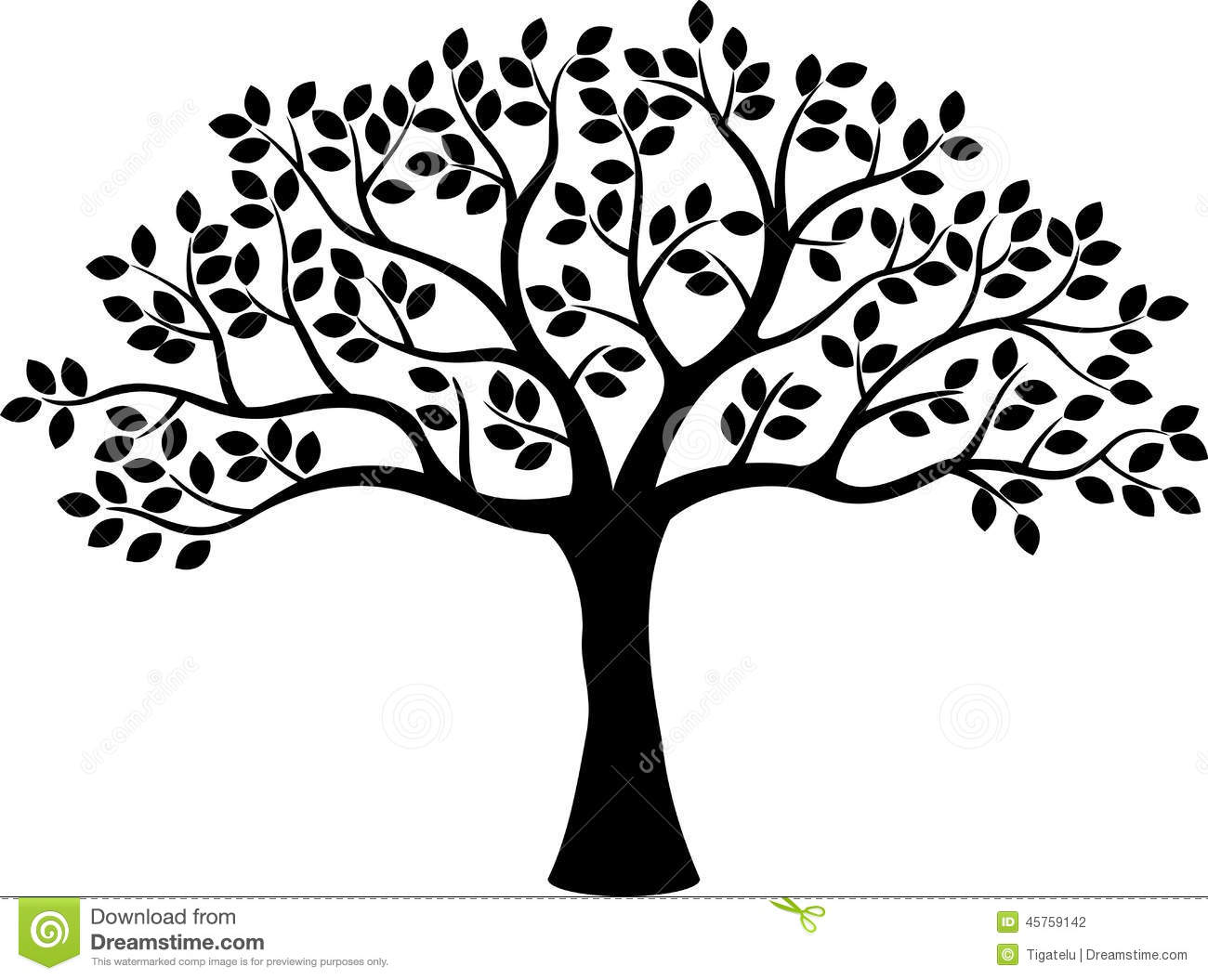 1300x1055 16 Cartoon Tree Silhouette Vector Images